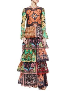 Patchwork-Print Ruffle-Tiered Dress by Valentino at Neiman Marcus.