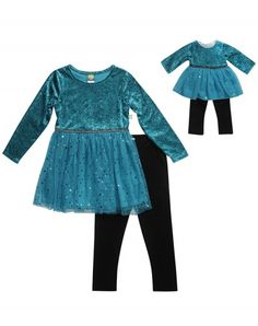 Rich Teal Velvet - Legging Set With Matching Outfit For 18 Inch Play Doll