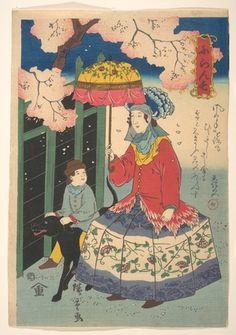 Utagawa Hiroshige II: French Woman, Her Child and Pet Dog - Metropolitan Museum of Art