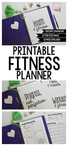 Planning Inspired printables' Printable Fitness Planner! These printables are EVERYTHING you need to get your fitness goals on track, complete with cover page and divider printables to set up your planner or binder! Includes 15 pages total!
