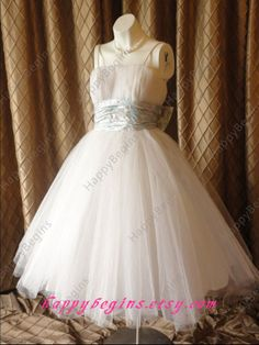 Ivory short ball gown prom dress/ spaghetti straps by HappyBegins, $149.00