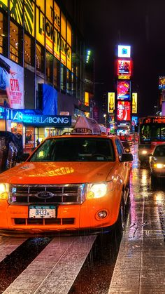 new york, night, taxi, pedestrian crossing