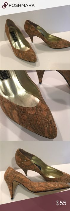 Gorgeous cork metallic heels! Vintage 😘💕 One of a kind vintage metallic cork heels!!! Never worn but stored in a box forever 😘💕I'm selling for a friend so don't ask to see on my foot ! Not my size😱 J Renee Shoes Heels