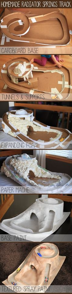 Homemade Cars track for my son - he wanted a spiral track around a mountain with a tunnel at the top. A little cardboard, expanding foam, paper mache, paint, and... Voila!: