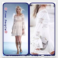 """❗️1 Hour Sale❗️FP bell- sleeve dress..Nwot Panels of gauzy textured fabric are interspersed with open work inserts of soft lace to create a fit and flare dress. Bracelet length bell- sleeves complete the beautiful boho look.. Side zipper, 100% cotton, very light Ivory color..Bust:32"""", waist:28""""length:31"""" Free People Dresses Mini"""
