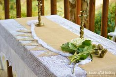 See how easy it is to create your own DIY Burlap Wedding Bunting for your save the date photo or for wedding reception decor | MountainModernLife.com