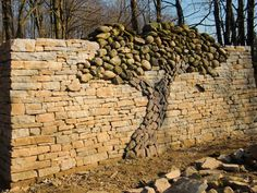 Lovely-The Kerry Landman Memorial Tree, Island Lake Conservation Area, Orangeville, Ontario, Canada. Eric Landman got permission to build this dry stone wall in memory of his wife Kerry. Memory Tree, Dry Stone, Dry Stack Stone, Outdoor Living, Outdoor Decor, Outdoor Rooms, Outdoor Art, Tree Wall, Tree Tree