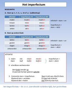 Het imperfectum = de o.v.t. (onvoltooid verleden tijd), het preteritum / Regelmatige werkwoorden