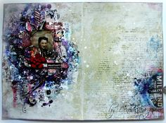 Scraps Of Darkness scrapbook kits: Mixed Media art journal pages created using our Sept. Blush kit, by Denisa Gryczova