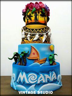 Moana Theme Birthday, Moana Themed Party, Moana Party, 2nd Birthday, Disney Desserts, Disney Cakes, Unique Cakes, Creative Cakes, Bolo Moana