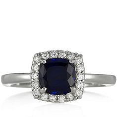 Diamonique 3.3ct tw Simulated Sapphire Square Cluster Ring Sterling Silver