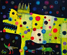 Elke Trittel acrylic,collage on canvas 55x65cm
