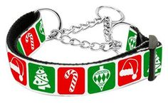 Mirage Sports Pet Products Dog Puppy Outdoor Training Sports Pet Safety Walking Lead Timeless Christmas Nylon Ribbon Collar Martingale Medium