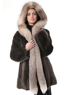 Women's Jade Longhaired Beaver Fur Coat with Fox Fur Trim, Style #99902