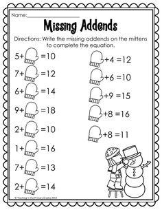 No Prep Winter/January math and literacy centers for first grade. 1st Grade Math Worksheets, First Grade Activities, Teaching First Grade, First Grade Math, Teaching Math, Math Activities, Math Fact Fluency, Math Facts, Fun Math
