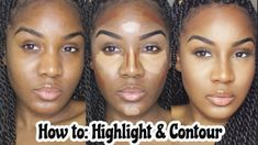 Beginners easy highlight & contour tutorial makeup for black women - youtube Highlighter Makeup, Contour Makeup, Contouring And Highlighting, Face Contouring Tutorial, Contouring Products, Face Makeup, Makeup Stuff, Eyeshadow Makeup, Contouring For Beginners