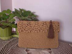 Light brown crochet bagcrochet clutch bagclutch