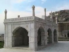"""AFGHANISTAN - Babur Tomb - Zahir-ud-din Muhammad Babur, who died in 1530, is buried here within Bagh-e Babur (Babur Gardens). The Persian inscription on his tomb translates as """"If there is a paradise on earth, it is this, it is this, it is this!"""""""