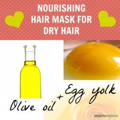 Olive oil has healthy fat and vitamin e that will protect and strengthen damaged and frizzy hair. Eggs contain protein and multivitamin that are vital for hair growth.