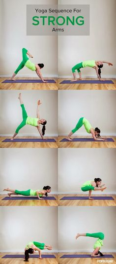 Yoga sequence for strong arms Rachel Taylor ...um but where are the poses to get my arms strong enough to DO these arm strengthening poses?? #yoga #flexibility #fitness