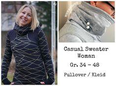 """Der """"Casual Sweater Woman"""" ist ein sehr wandelbarer Schnitt für Damen, der durch liebevoll ausgearbeitete Details zum echten Hingucker wird!  Markenzeichen der """"Casual Sweater""""-Reihe sind die betonten Schulterpassen. Durch geschickte Kombinationen mit verschiedenen Stoffen und Farben, lassen sich hier immer wieder neue Lieblings-Pullis zaubern.  Durch die Unverkennbarkeit der Schulterpasse, lassen sich auch tolle Mutter-Kind Kombinationen nähen. Aber auch ohne die betonten..."""