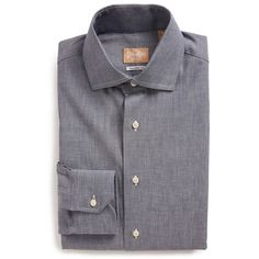 Gitman Tailored Fit Chambray Dress Shirt (675 BRL) ❤ liked on Polyvore featuring men's fashion, men's clothing, men's shirts, men's dress shirts and navy