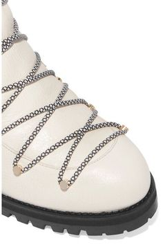 Jimmy Choo - Drake Shearling-lined Textured-leather Ankle Boots - White - IT