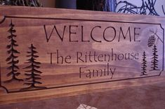 Address Plaque Personalized Wooden Sign Rustic Cabin Welcome Signs Pine Tree Pine cone Primitive wood carved Sign Wooden Carved Cabin Plaque