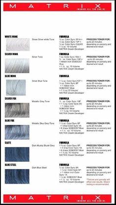 Silver hair formulas using Matrix Hair Color Wheel, Hair Color And Cut, Haircut And Color, Matrix Formulas, Cabello Zayn Malik, Hair Color Images, Hair Images, Matrix Color, Matrix Hair Color Chart