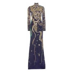 Emilio Pucci Embellished Silk Gown ($6,145) ❤ liked on Polyvore featuring dresses, gowns, blue evening gown, blue evening dress, navy evening gown, navy blue evening gown and blue gown