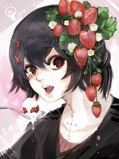 Juuzou with Strawberries Juuzou Tokyo Ghoul, Juuzou Suzuya, Tsukiyama, Kaneki, Anime Manga, Anime Art, Adele, Anime Girl Brown Hair, Strawberry Art