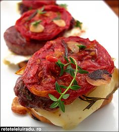 Caramelized onion, toast, Brie, fried pork and oven dried tomatoes tapas