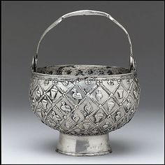 Silver Holy Water Bucket; 7th century, Tirana, Albaia, silver. Silver stamps on the bottom identify this bucket as a Byzantine product, likely of a much earlier date than the rest of the Vrap treasure.