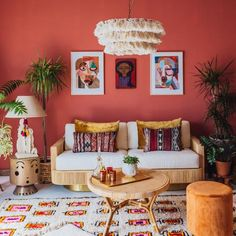 Jungalow® by Justina Blakeney is the one-stop-shop for bohemian-modern home decor + all things all things colorful, patternful +jungalicious. Colourful Living Room, Boho Living Room, Living Room Decor, Bedroom Decor, Coral Room Decor, Coral Living Rooms, Colourful Bedroom, Quirky Bedroom, 60s Bedroom
