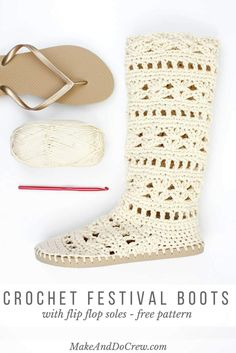 Crochet on flip flop soles Wow! Coachella or your local concert in the park, this crochet boots pattern for adults will complete your boho-inspired outfits all season long! Made with Lion Brand Cotton in Ecru. Crochet Boots Pattern, Crochet Slipper Boots, Crochet Sandals, Crochet Slippers, Boho Crochet Patterns, Cotton Crochet, Diy Crochet, Crochet Crafts, Crochet Projects To Sell
