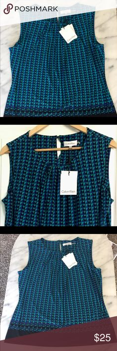 Calvin Klein Top Be a lady boss in this Calvin Klein suits, new with tags, sleeveless top. On-trend geometric black, blue, & purple pattern with a few pleats at the neckline gives this top a flattering an A-line shape.  Excellent condition! Calvin Klein Tops Blouses