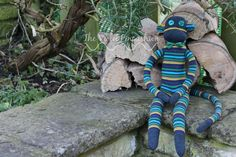Extra Large Grey Green Yellow and Blue Stripey Sock Monkey