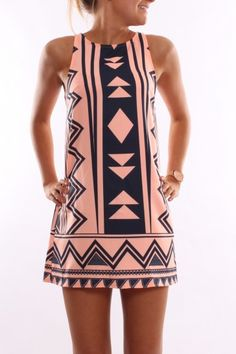 I love this cute geo print shift!! Flattering cut & versatile. I WANT THIS!!