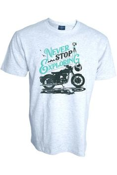 POPO Moto Guzzi Rider Italian Classic T-Shirt Biker Motorcycle Retro Grey
