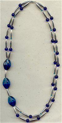 Asymmetrical cobalt necklace (eebeads.com)