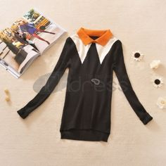 Lapel Stretch Slim long sleeve bottoming sweater 2 colors