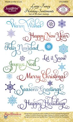 JustRite Papercraft   CR-03800    Large Fancy Holiday Sentiments