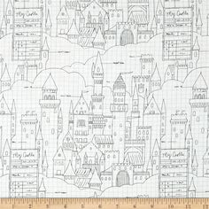 Michael Miller Sarah Jane Magic Castle Plans White from @fabricdotcom  Designed by Sarah Jane for Michael Miller Fabrics, this whimsical collection is perfect for quilting, home decor accents and apparel. Colors include black, blue and white.