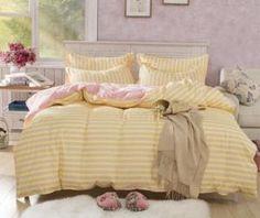 Set lenjerie de pat Yellow with Pink model dungi