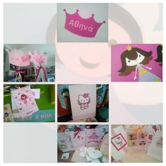 Girly invitations with printed princess, kitty, fairy...