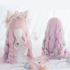 Japanese Fashion Harajuku Kawaii Rainbow Pink Colors Long Curly Wigs Daily Wigs sold by lolita store. Shop more products from lolita store on Storenvy, the home of independent small businesses all over the world. Kawaii Hairstyles, Pretty Hairstyles, Wig Hairstyles, Curly Hair Tips, Long Curly Hair, Curly Hair Styles, Anime Wigs, Anime Hair, Cosplay Kawaii