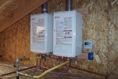 Hot Water Heater In Attic - Picture of Water Heater Tankless Hot Water Heater, Water Heaters, Residential Plumbing, Water Heater Installation, Water Pictures, Through The Roof, Heat Pump, Image House, Attic