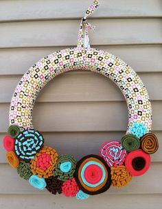 Make fabric sleeve for a pool noodle wreath