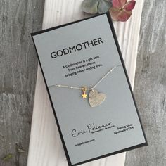 Perfect gift celebrating the importance of Godmothers. Handcrafted Sterling Silver Necklace. One hand crafted sterling heart with a vintage lace pattern, and a gold vermeil star. Each heart has natural variation. 18″ sterling silver beaded chain.