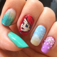 """Beach Nails Inspired by Ariel From Disney's """"The Little Mermaid"""""""